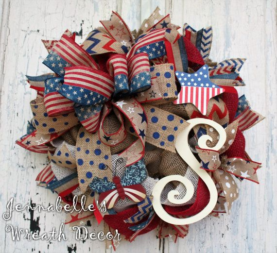 SMALL Burlap Wreath Patriotic Wreath Independence by JennaBelles