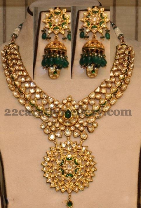 Kunan bridal necklace with heavy classy jhumkas