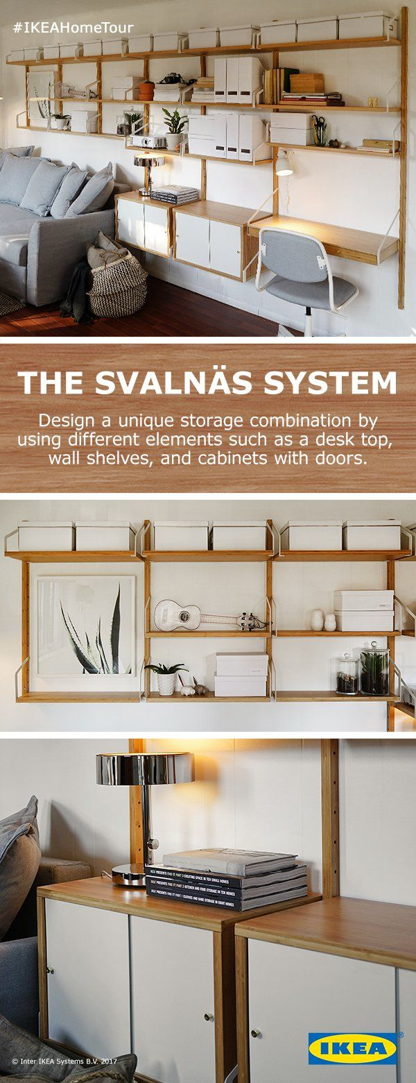 Make your unique version of wall storage with the SVALNÄS shelving solution. Simply combine different elements of the SVALNÄS system to find the arrangement that best suits your needs. All units are made from durable, fast growing and renewable bamboo sources.