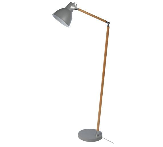 Buy Collection Twyford Wood And Metal Floor Lamp Grey At