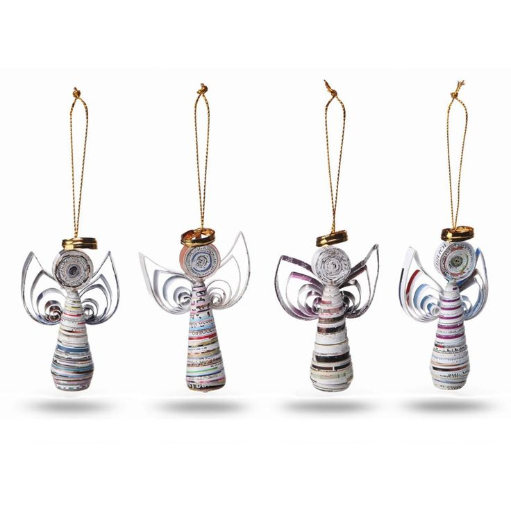 Set of 4 Recycled Magazine Angels