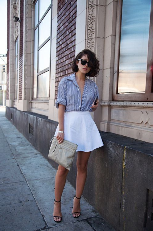 White Fit And Flare Skirt 2017 Street Style