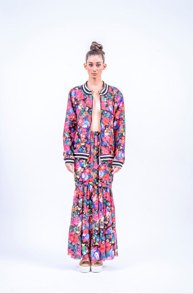 Romani Design, ss17, wanderers of the worlds, roma, gypsy, stripes, striped, floral, print, rose, roses, fashion, flower, flowers, outfit, spring, summer, dress, skirt, midi, maxi, bomber, jacket, stripe, stripes