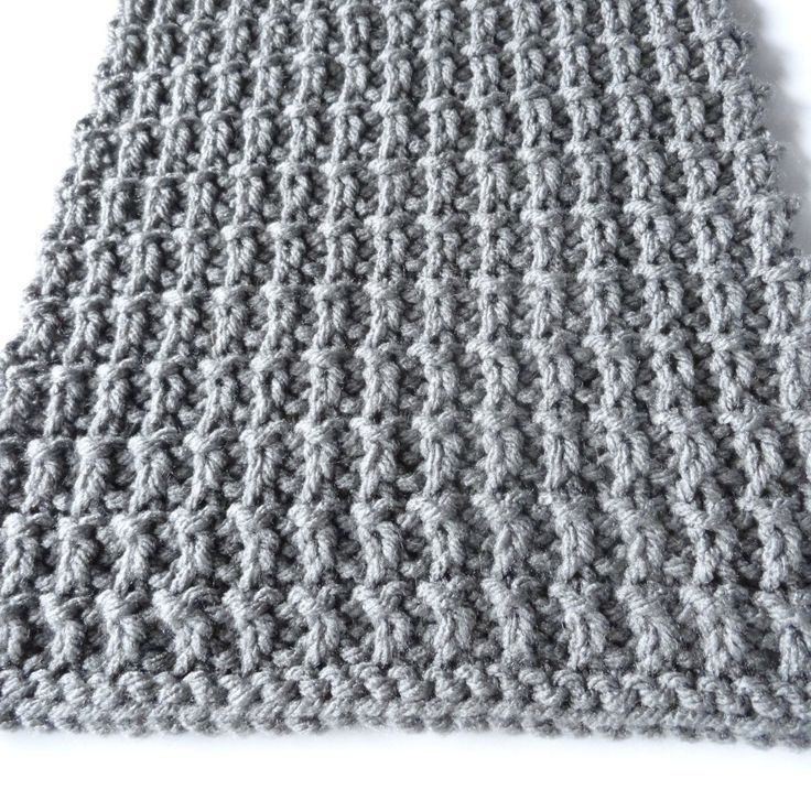 Ridge Rib scarf size 10 needles and 370 yards of worsted R1 k, R2 K, R3 p1, *...