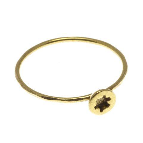 CCK Jewellery, Lille Stjerneskrue Ring, forgyldt sølv