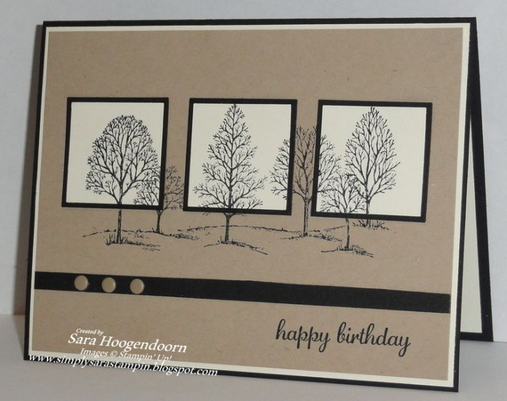 "By Sara Hoogendorn. Uses stamp from Stampin' Up's ""Lovely as a Tree"" set.  Put a little repositionable tape under three squares of white cardstock. Use a Stamp-a-Ma-Jig to position the 3 white squares on the panel so that each one is under a tree & again to stamp the trees onto the panel. Let dry. Remove the white squares, mat each on a black square, & adhere each back in place. Add ribbon, embellishments, a white mat, & a black card base."
