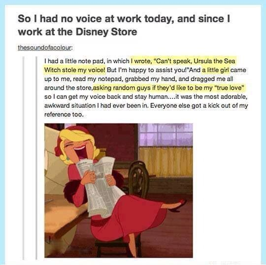 Disney worker lost her voice.