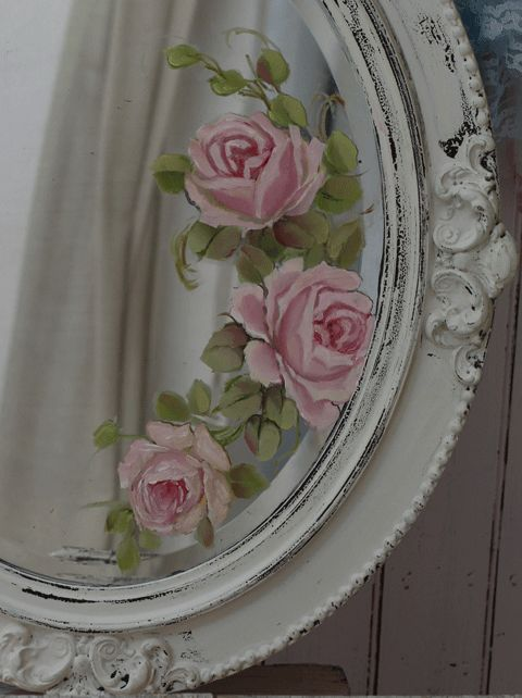 Hand painted roses mirror, antique wall art, vintage mirror, joanne coletti