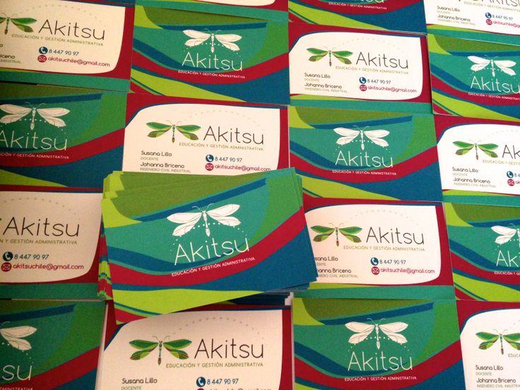 Tarjetas corporativas diseñadas para Akitsu #Chile #Emprendedores del norte
