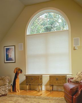 pictures of window treatments for rounded windows | Odysee Insulating Blinds closed in an arched window in Castle Rock ...