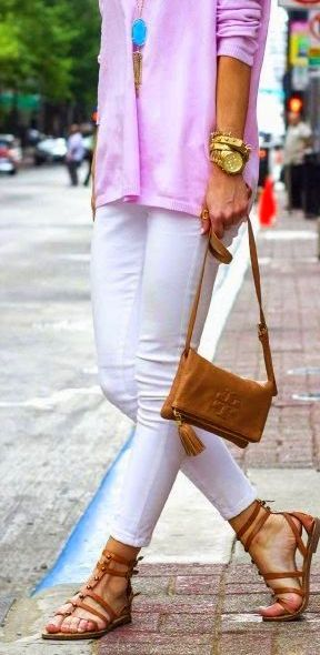 summer outfit. gold jewelry + white jeans + cute purple blouse. perfection!