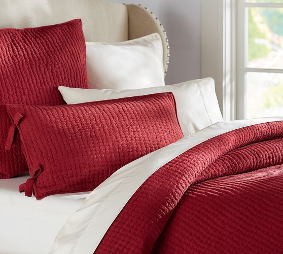 Pick Stitch Wholecloth Quilt In Red At Pottery Barn Red