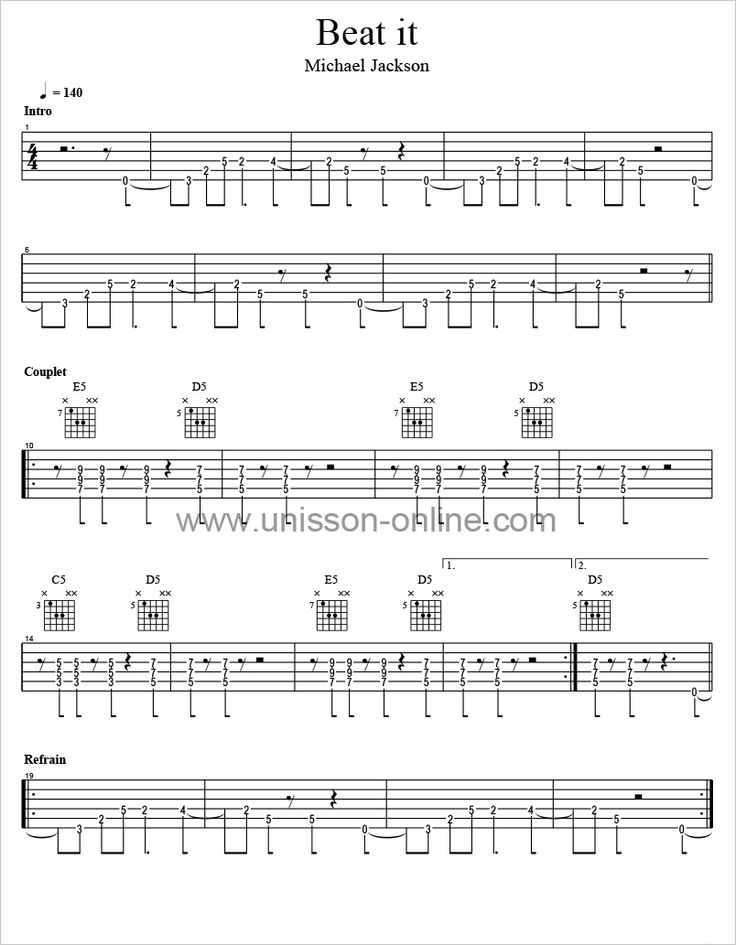 Tablature guitare de Beat it - Michael Jackson. Tab Guitar Pro et PDF. Tablature à télécharger gratuitement. Lecteur Tab Guitar Pro gratuit !