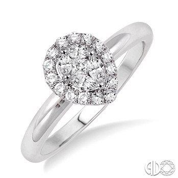 1 3 Ctw Pear Shape Diamond Engagement Ring In 14k White Gold