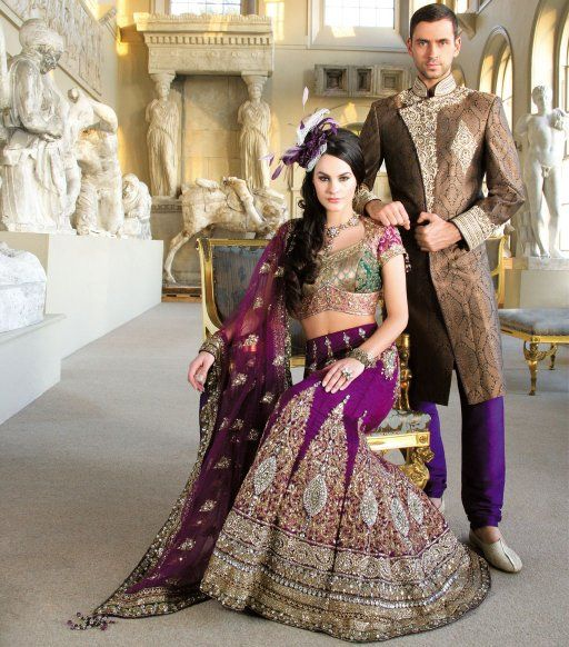 Traditional bridal with short brocade blouse and A-line skirt embellished with zardosi and stonework