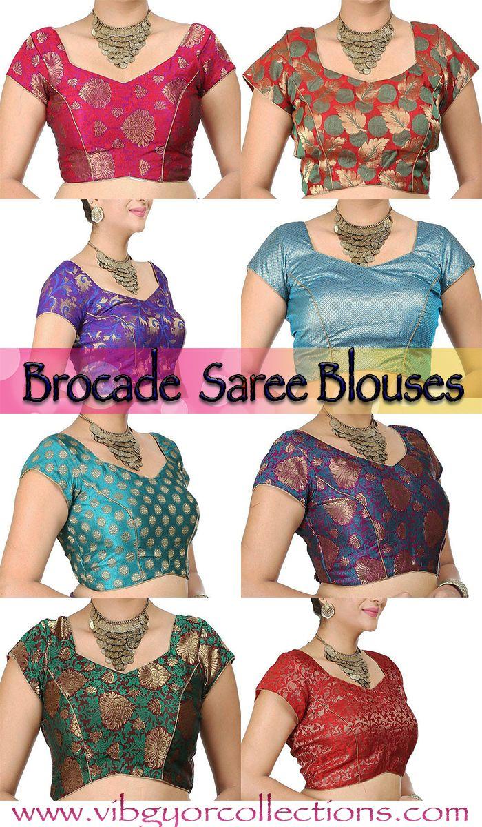 Brocade saree Blouse designs <3