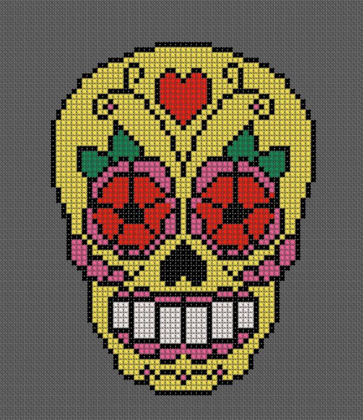 Mexica skull korsstygn