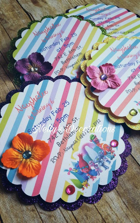 Trolls invitations | Trolls Birthday invitations | Trolls Party decorations | Trolls Invites