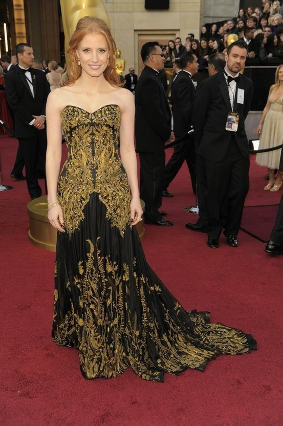Jessica Chastain's McQueen gown at the 2012 Oscars