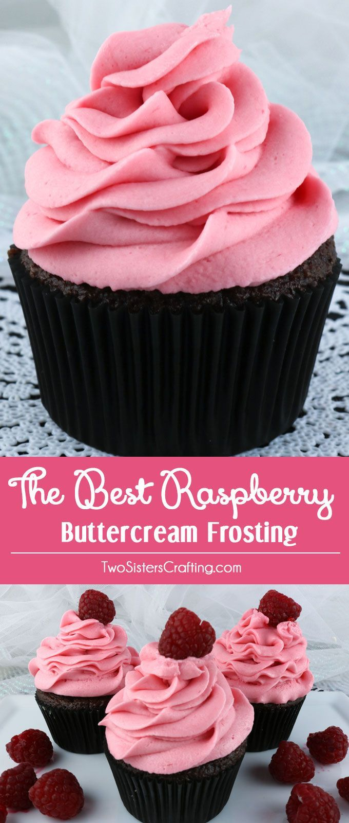 The Best Raspberry Buttercream Frosting - our delicious buttercream frosting flavored with deliciously fresh Raspberries.   Light and fresh with just a hint of tart, this yummy homemade butter cream frosting will take whatever you are baking to the next level, we promise!  Pin this tasty Raspberry Frosting for later and follow us for more great Frosting Recipes!