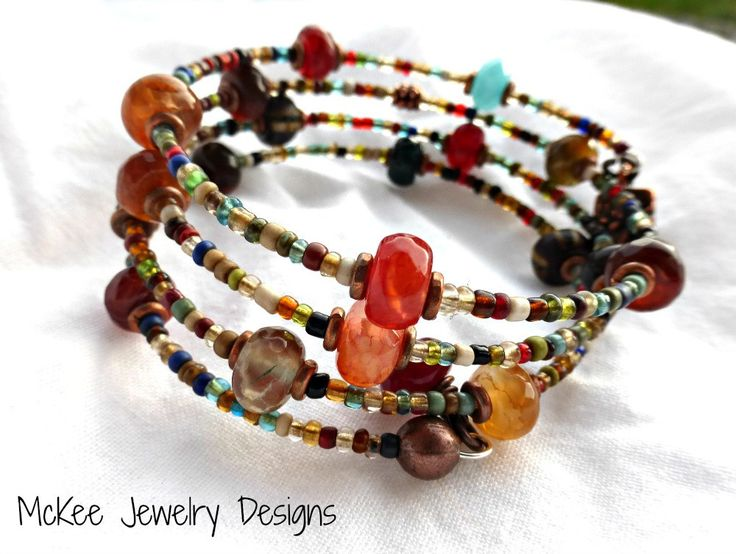 Stone  seed bead glass and copper wrap around memory wire bracelet