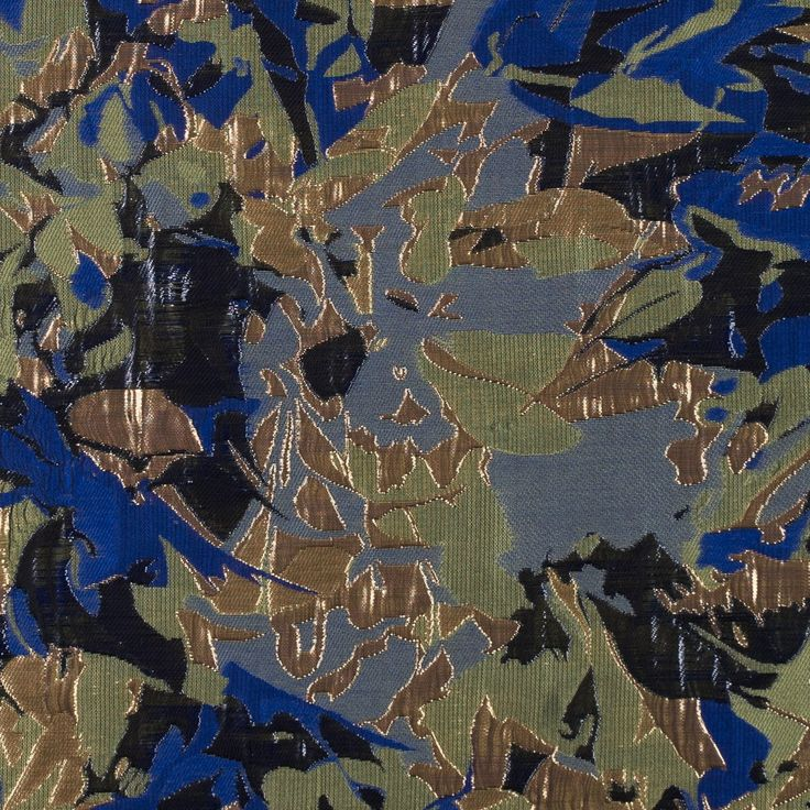 Metallic Gold/Blue/Olive Abstract Brocade Fabric by the Yard | Mood Fabrics