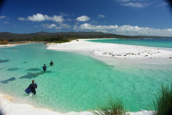 White sands and clear, aqua waters are a feature of beaches in the north east of Tasmania.  Photo by Dan Fellow.
