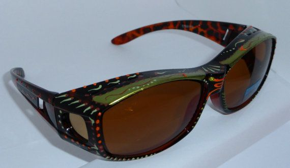 "Hand Painted Fit overs Sunglasses ""Marvelous Moss Green  ""( sunglasses that fit over your glasses) custom made especially 4 you."
