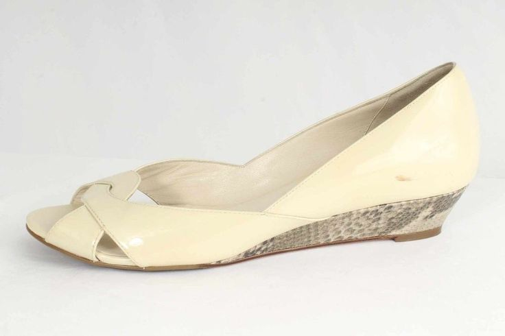 Cole Haan Size 11M Cream Patent Leather Peep Toe Wedges Nike Air NEW 663 S616  | eBay