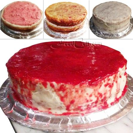 #Raspberry #cake:  1) #whipped raspberry #cream with a #buttercream dam to keep the filling on the first layer.  2) 2nd layer.  3) a thin #butter cream coat to create a nice, clean, sealed surface.  4) finished with a raspberry #glaze.  #organic elements: #flour, #raspberries, #heavy ( #whipping /35%) cream.  This cake is flavoured with #lemon and #vanilla ... and has a #homemade #raspberryjam swirled into the #batter.   - #Food Matters!