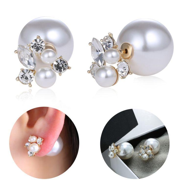 New Fashion Hot Selling Earring 2015 Double Sided Shining Pearl Stud Earrings Big Pearl Earring For Women Jewelry