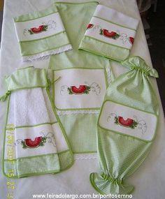 Feira do Largo - Jogo de cozinha: avental, pano de prato
