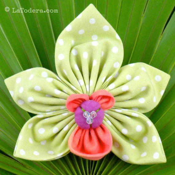 Fabric Flower Pattern Tutorial-  Orchid  Brooch Cymbidium by La Todera