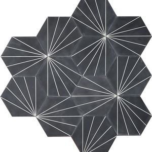 Contemporary tiles - Dandelion Hex in Almost black.