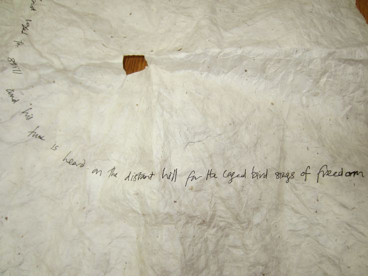 The third part of the message on the cover of the caged bird.  It's a quote from Maya Angelou's 'I Know Why the Caged Bird Sings'.