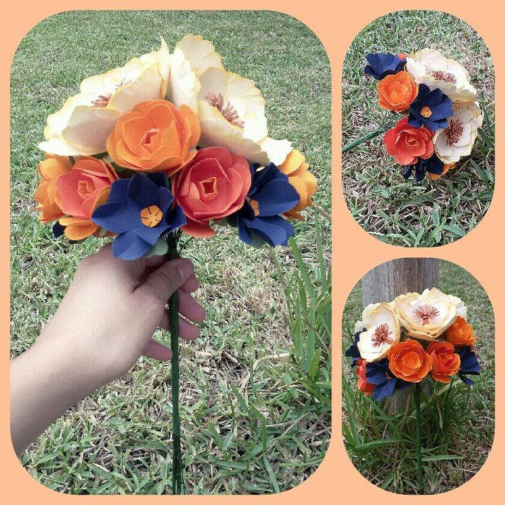 Peonias con rosas naranjas y bonitas flores azules, el Ramo de tú boda duradero y para siempre por que él también es importante.