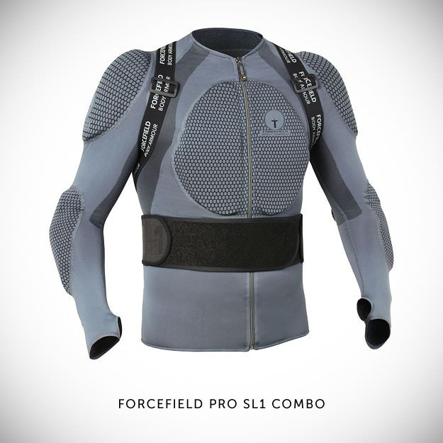 The Forcefield Pro SL1 Combo—one of the safest motorcycle armor systems you can buy. It's constructed from machine-washable BeCool™ fabric and the armor panels are low-profile CE-approved Nitrex Evo. Not cheap at £200, but good insurance.