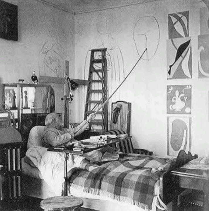 no excuses - The unbeatable Henri Matisse making artwork in his studio/room in the Hotel Regina, Nice-Cimiez, 1950.