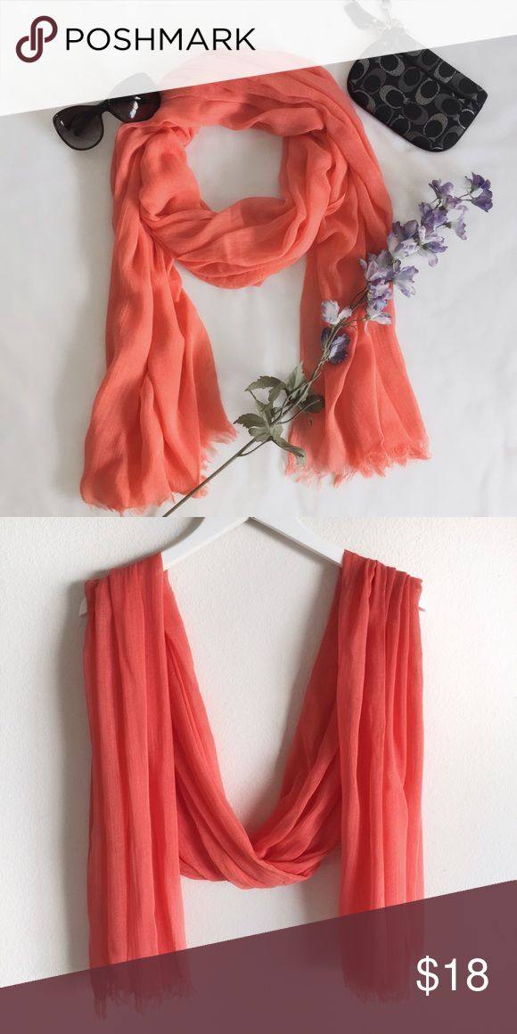 Peachy Coral Scarf Like new gorgeous peachy coral scarf with fringe detail. Accessories Scarves & Wraps
