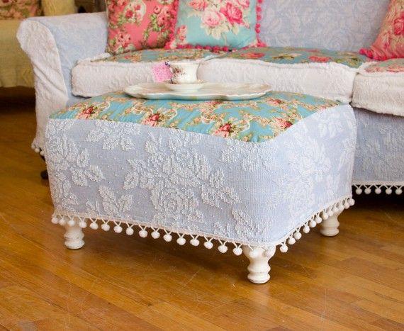 Shabby Chic Ottoman Chenille Bedspread Slipcover Roses Pom Pom Trim White  Distressed