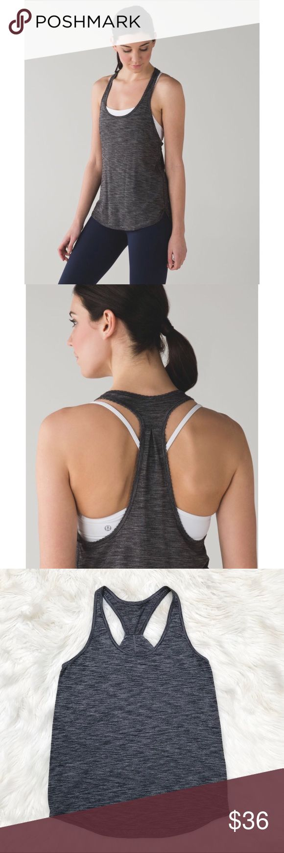 """Lululemon 105F Singlet Tank  Seriously Light Luon We designed this lightweight and loose-fitting tank to layer easily over any bra. The breathable, anti-stink fabric helps to keep us cool in even the hottest of Hot yoga classes so we can go ahead and get sweaty.  No shelf bra Fit is loose Longer in the back for coverage   No size tag so please see measurements below carefully before purchasing:  25.5"""" long 15.5 pit to pit (Online research shows this should measure about a lulu size 8 or…"""