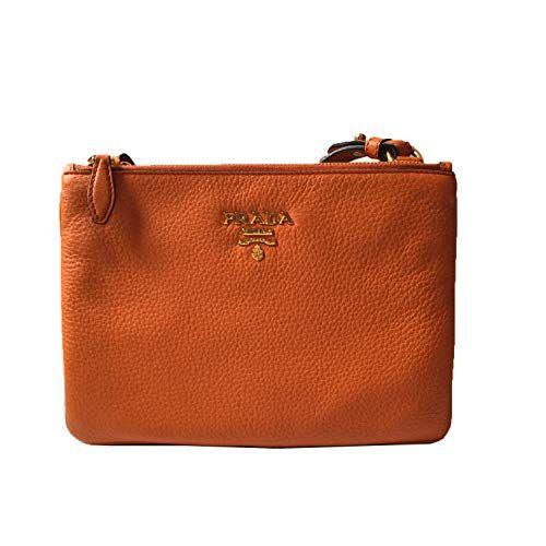 cfce93b20791 Prada Orange Papaya Vitello Leather Phenix Designer Crossbody Handbag for  Women 1BH046