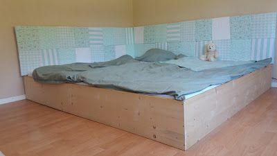 Familienbett mit gepolsterten Kopf- und Seitenteil; DIY
