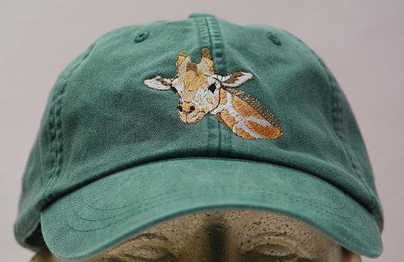 GIRAFFE HAT  One Embroidered Wildlife Cap  Price by priceapparel
