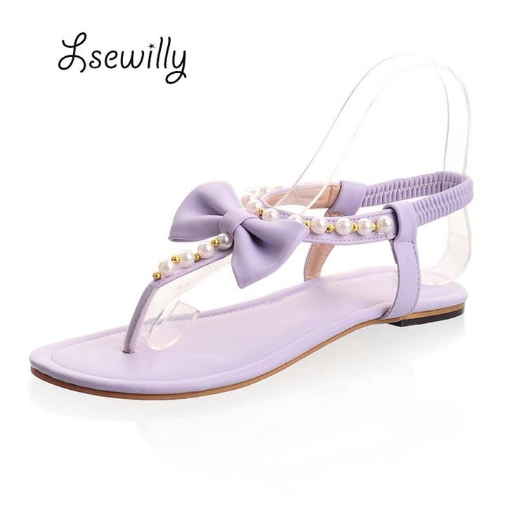 Lsewilly Women new fashion spring summer bow pearl flip-flop gladiator elastic strap flat heel sandals slipper shoes  S262 #Affiliate
