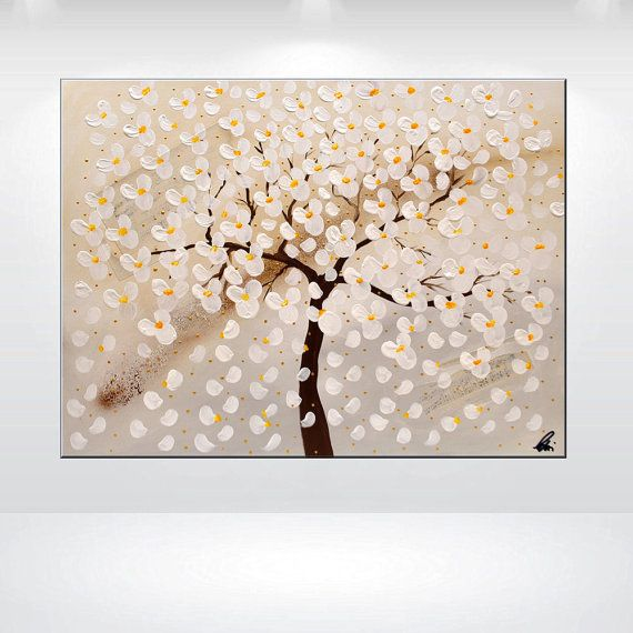 Acrylic painting, abstract painting, white cherry blossoms