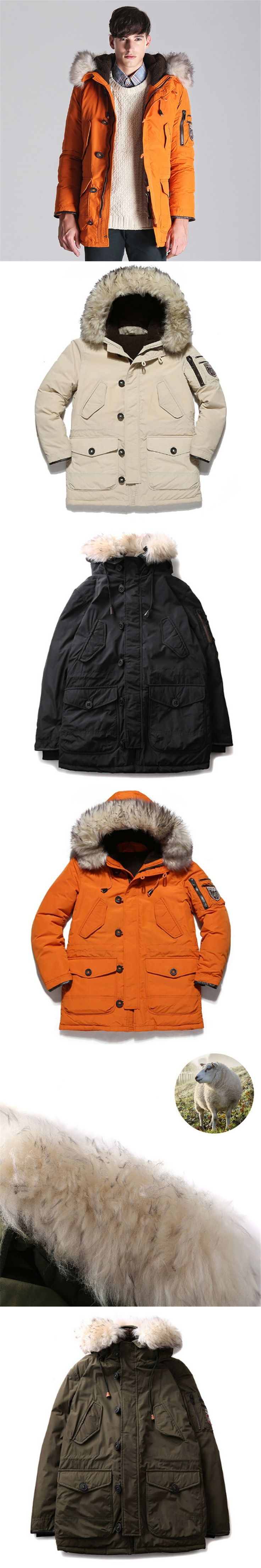 2018 winter white duck  mens parka jackets fur hood Army green Casual Warm  Men Coats Plus size 4XL