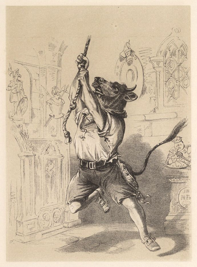 Illustrations by H. L. Stephens for Death and Burial of Poor Cock Robin, circa 1865.  Who'll toll the bell?  I said the Bull,  because I can pull,  I'll toll the bell.