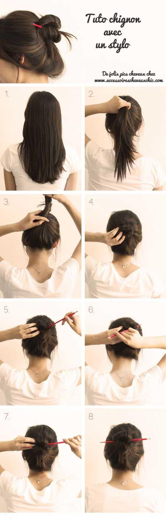 Comment attacher ses cheveux avec crayon stylo baguette