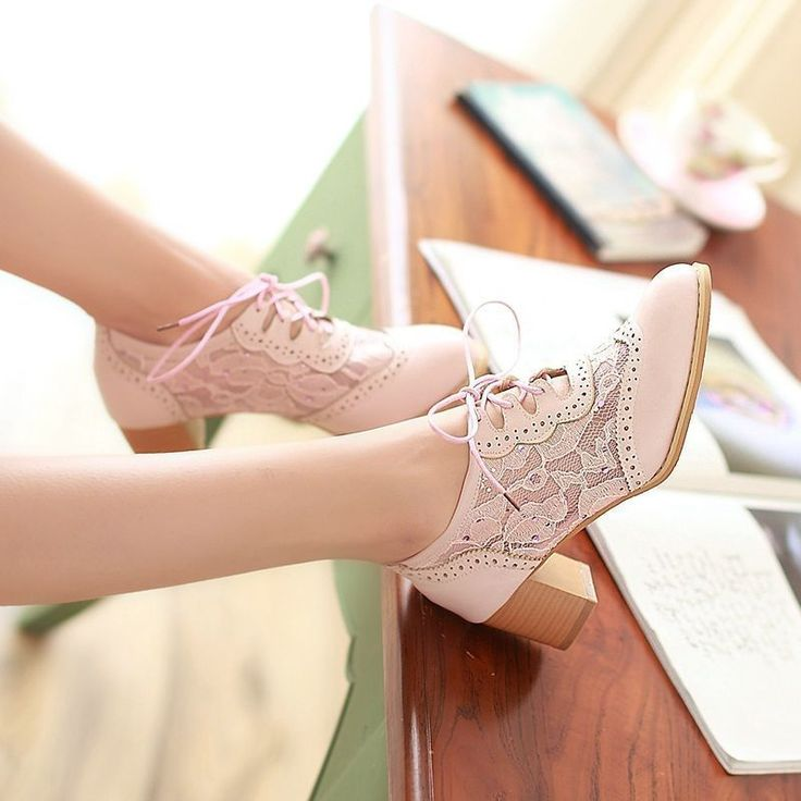 Womens Lace Up Pointy Toe Block Heels Mesh Cut Out Oxford Pumps Shoes in Clothing, Shoes & Accessories   eBay